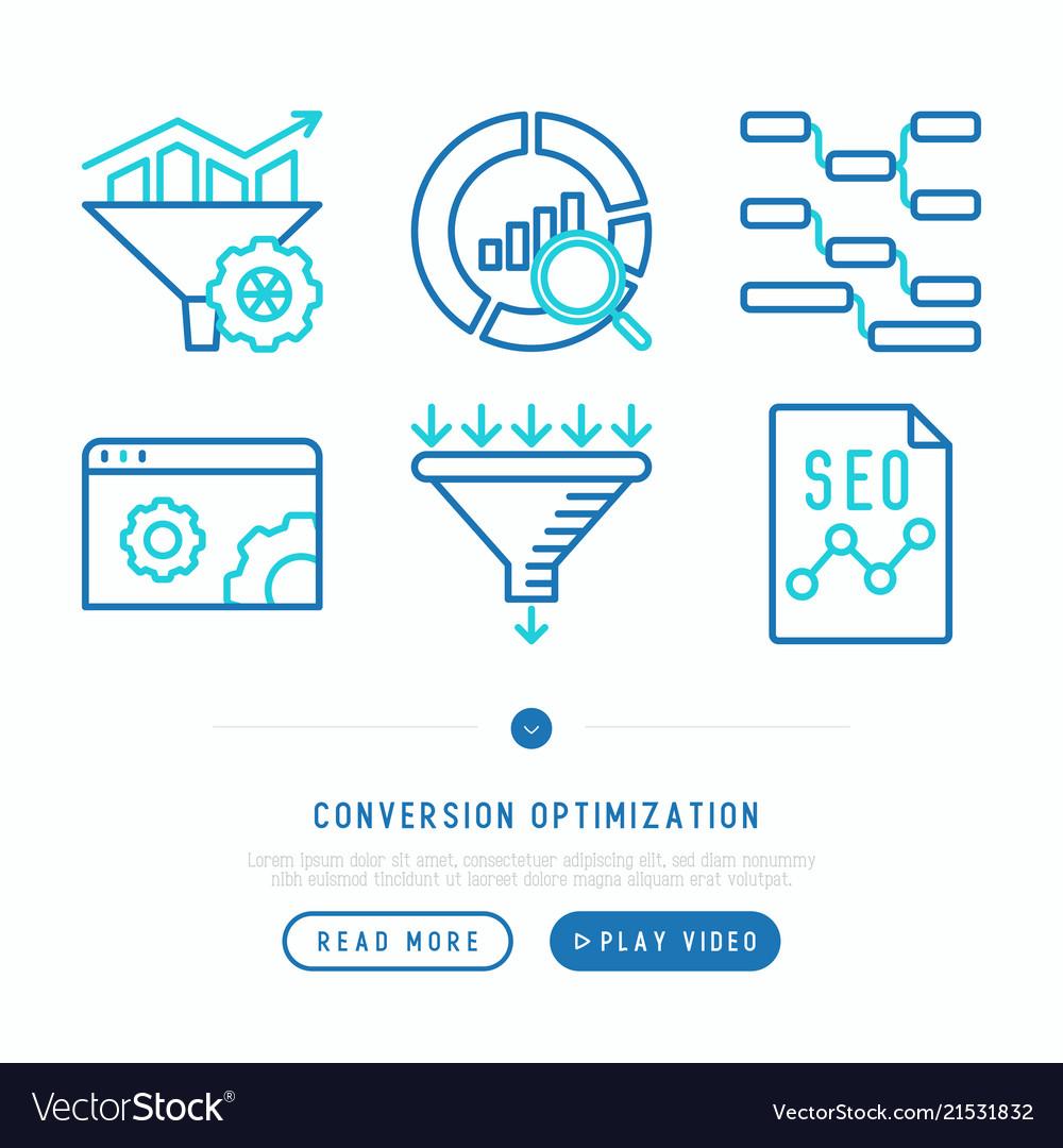 Conversion optimization thin line icons set