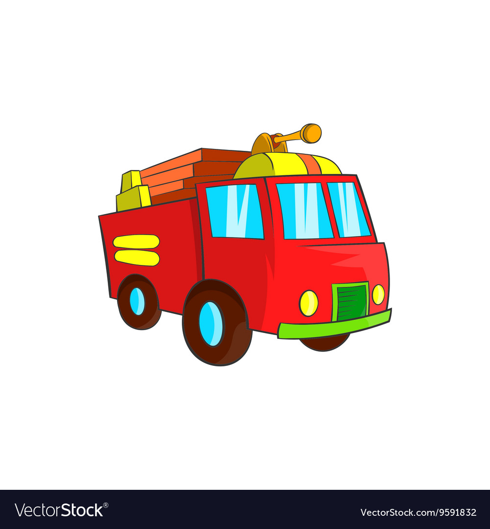 Fire truck icon cartoon style