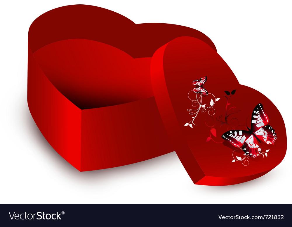 Heart shape present opened box