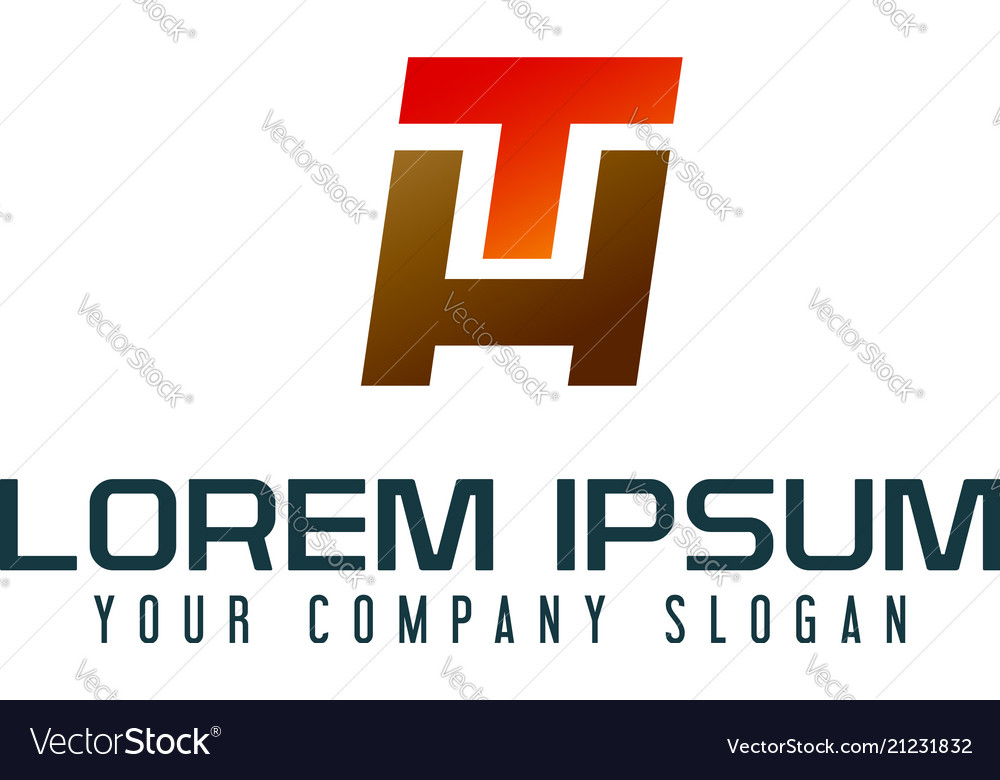 letter h and t logo design concept template vector image