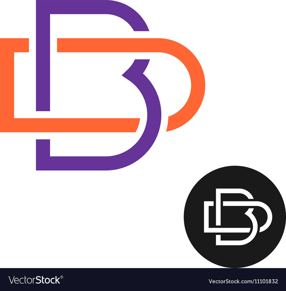 Letters B And D Outline Style Weave Ligature Logo Vector Image