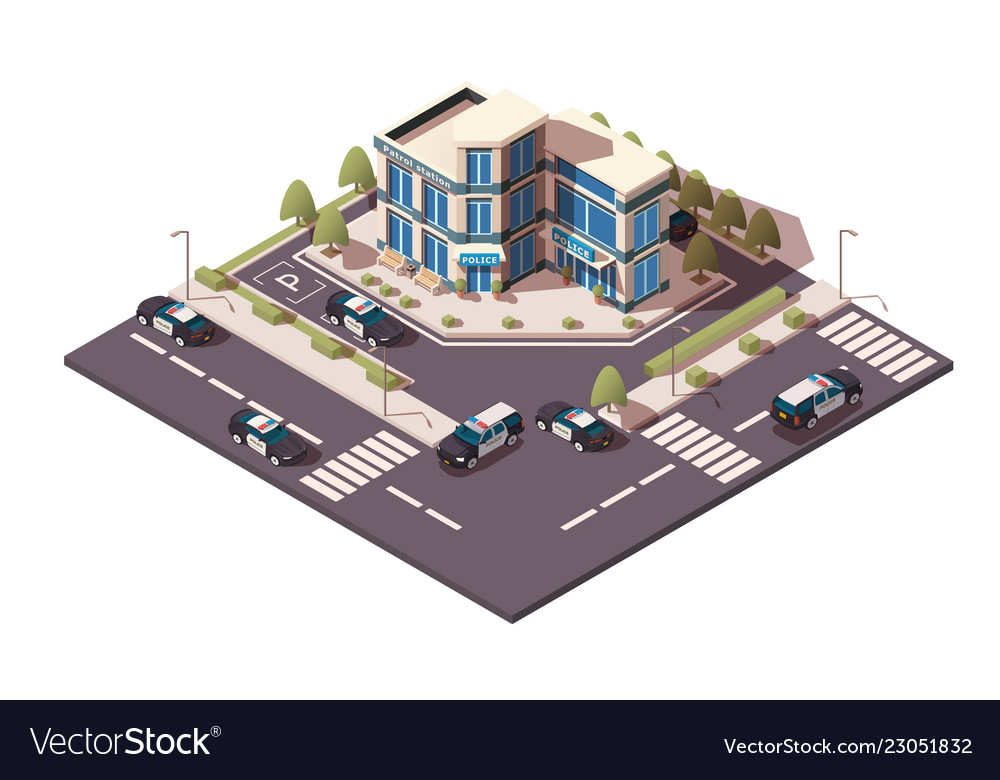 Police station with sedan and jeep car parking in