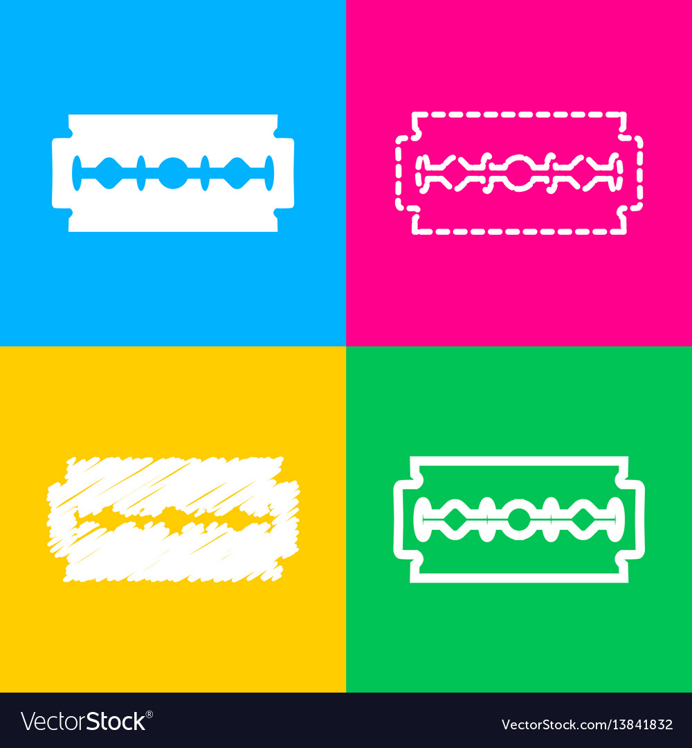 Razor blade sign four styles of icon on four vector image