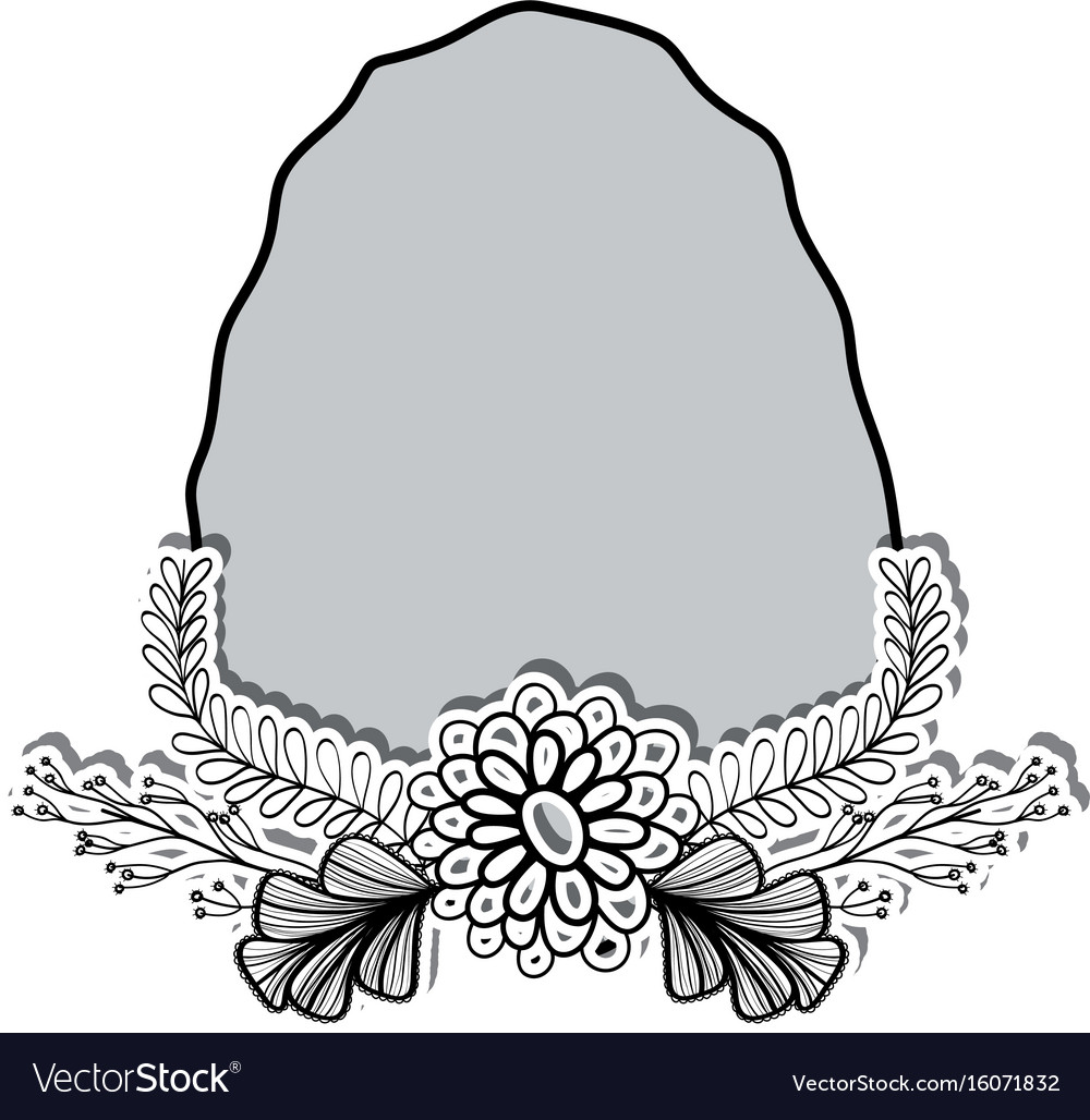 Rock and branches with leaves and flowers vector image
