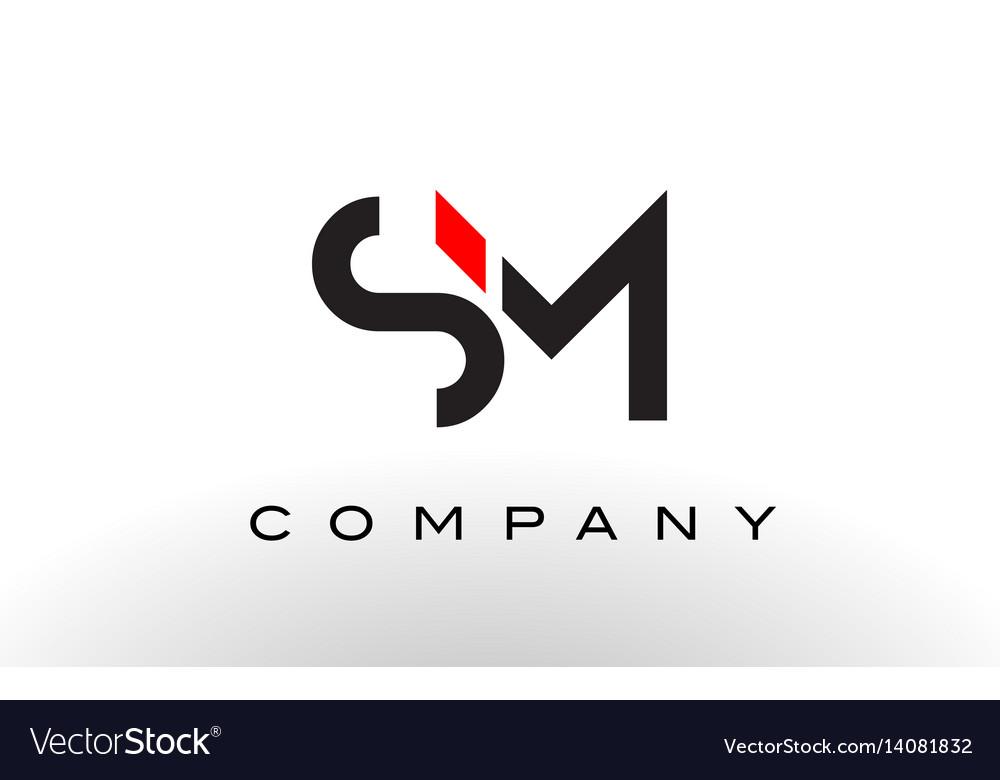 SM S M Black Letter Logo Design With Purple Magenta Swoosh