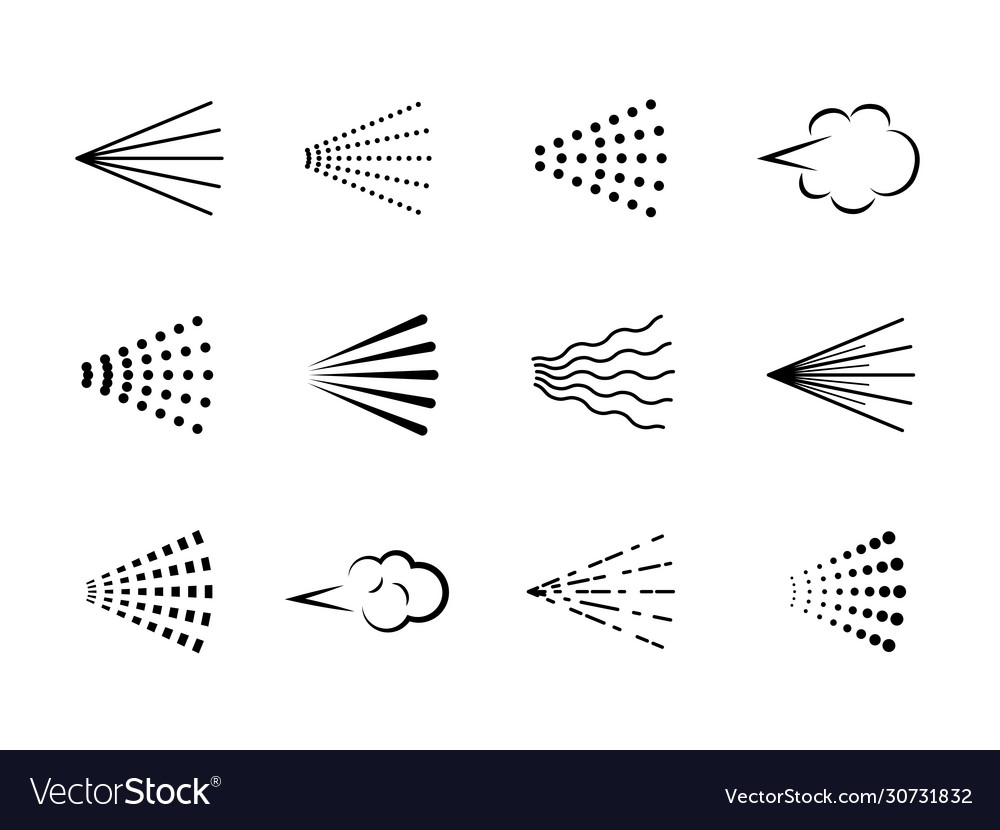 Spray icons scatter gas black silhouette nozzle