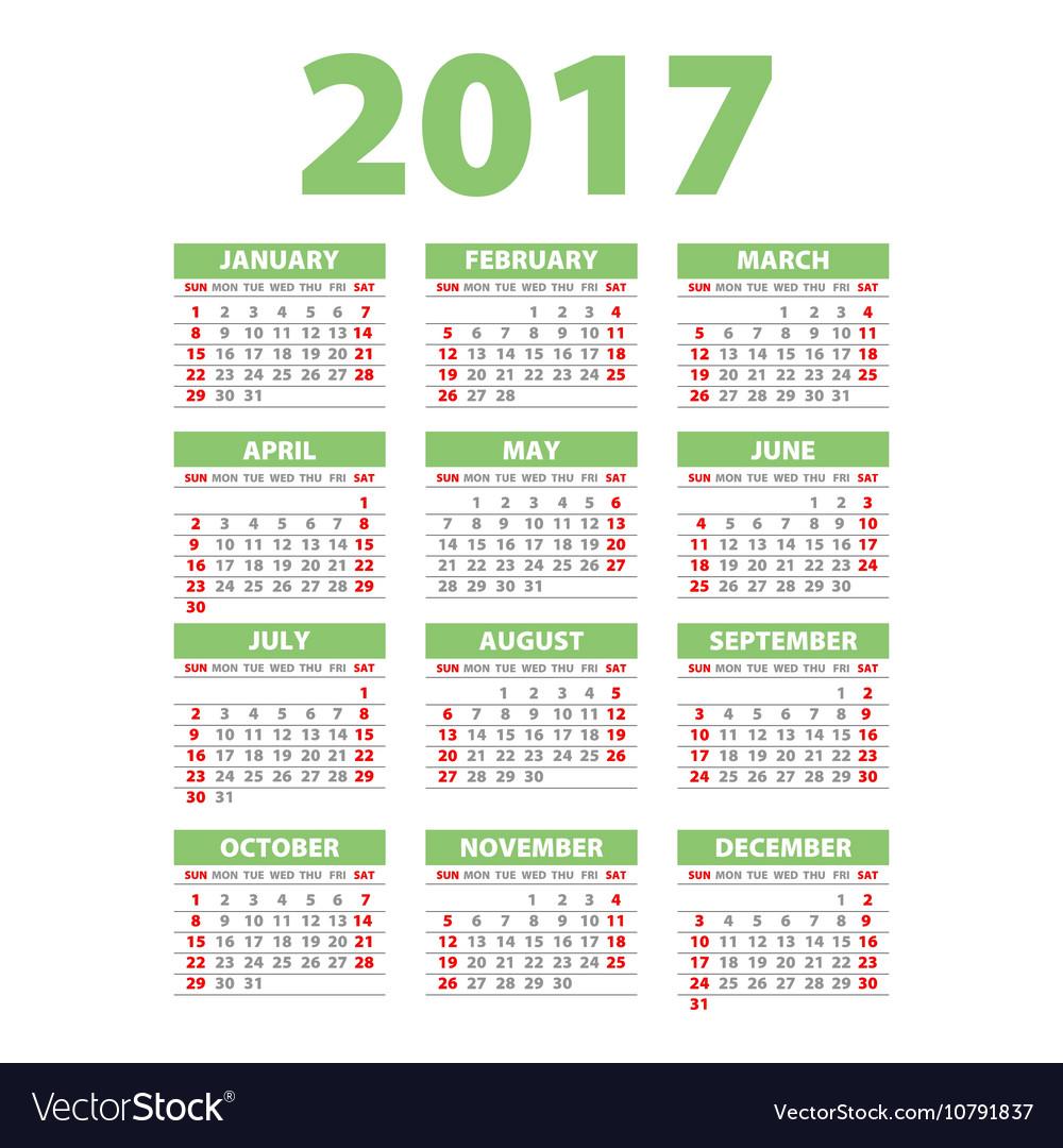 2017 Calendar Or Desk Planner 12 Month Set Green Vector Image