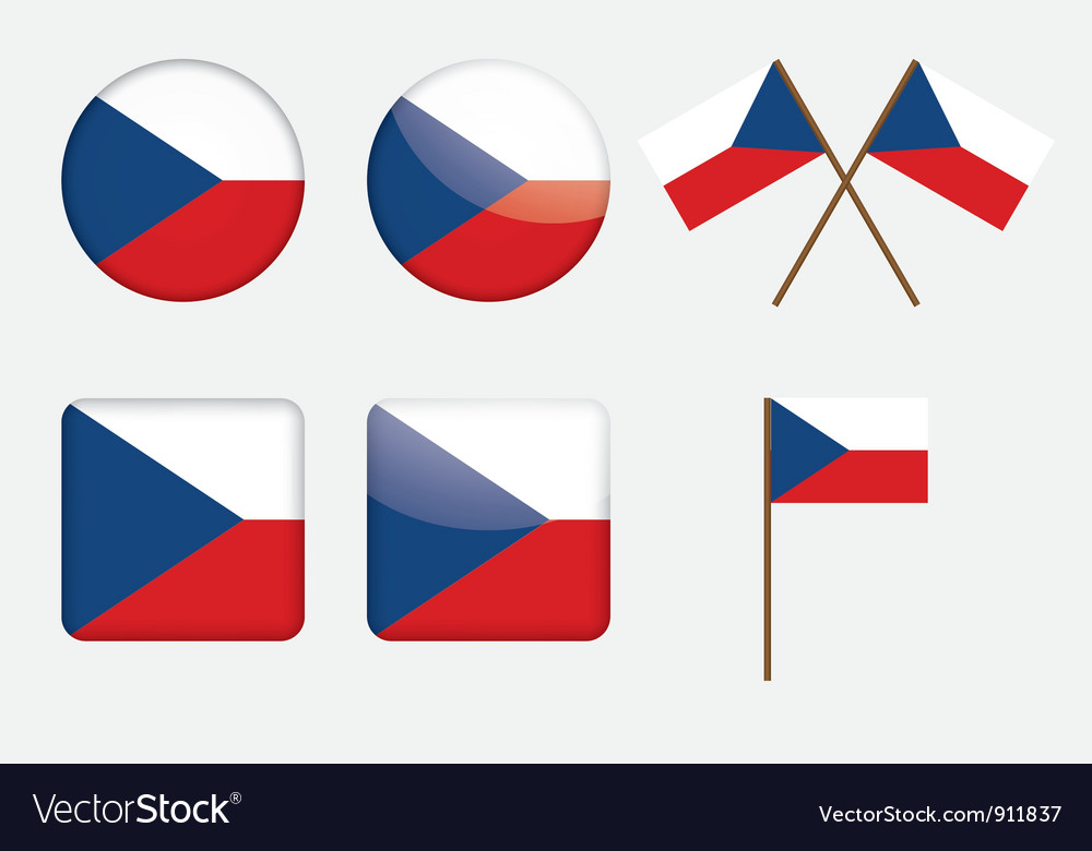 Badges with flag of Czech Republic