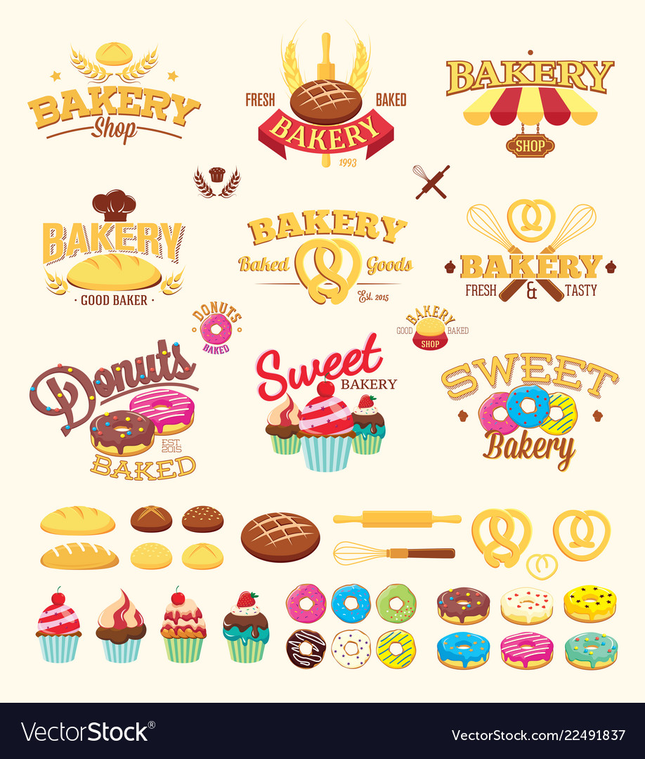 Bakery labels logos and design elements