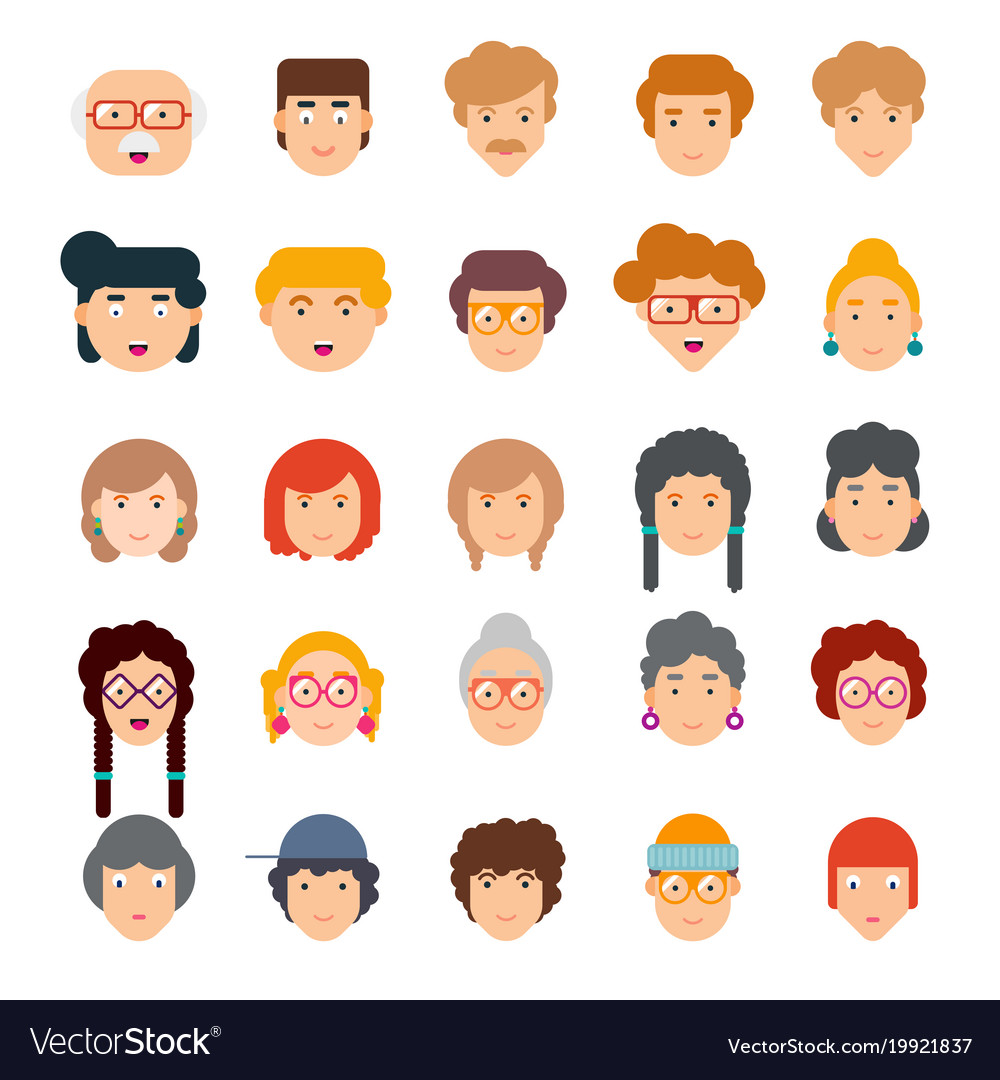 Colorful set of faces in flat design