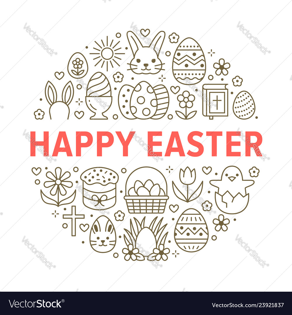 Easter card circle template with flat line icons