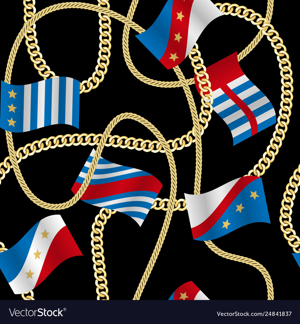 Flags and chains fashion seamless pattern