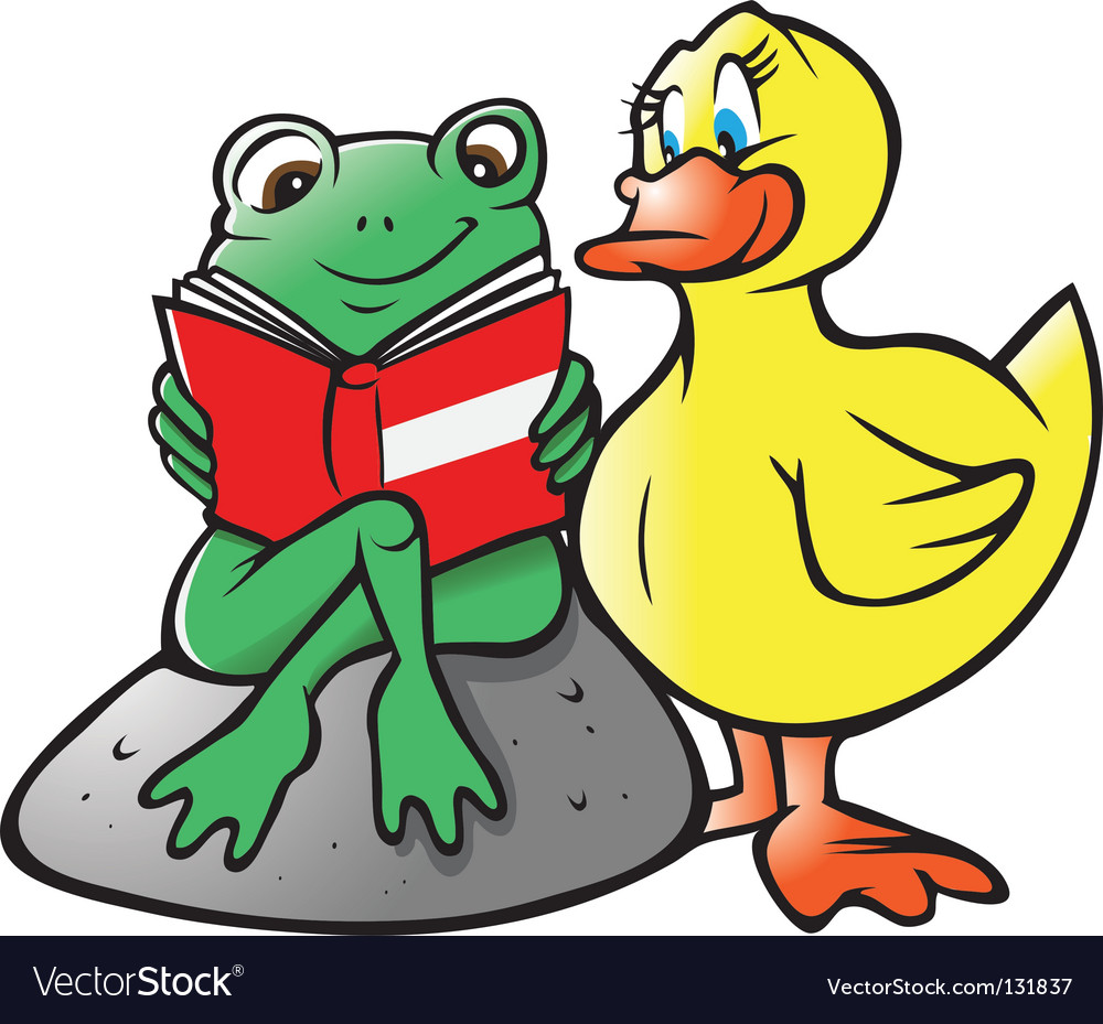 Frog duck reading vector image