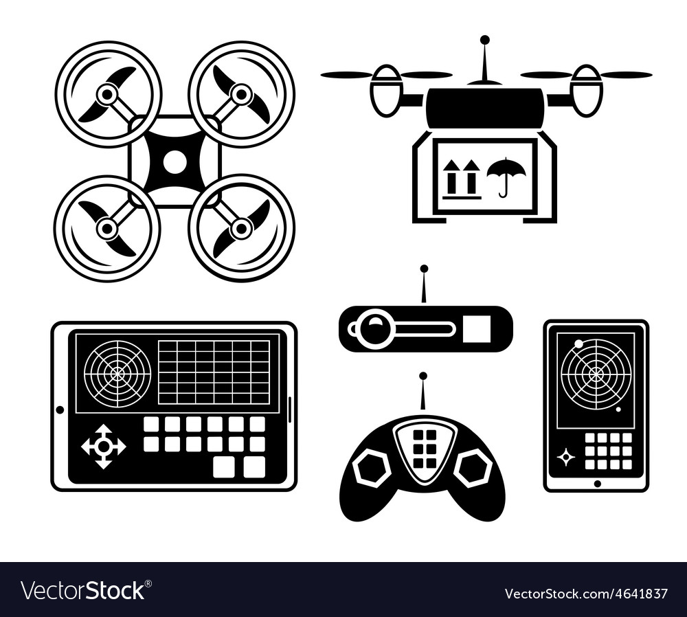 Quadrocopter or drone icon set vector image