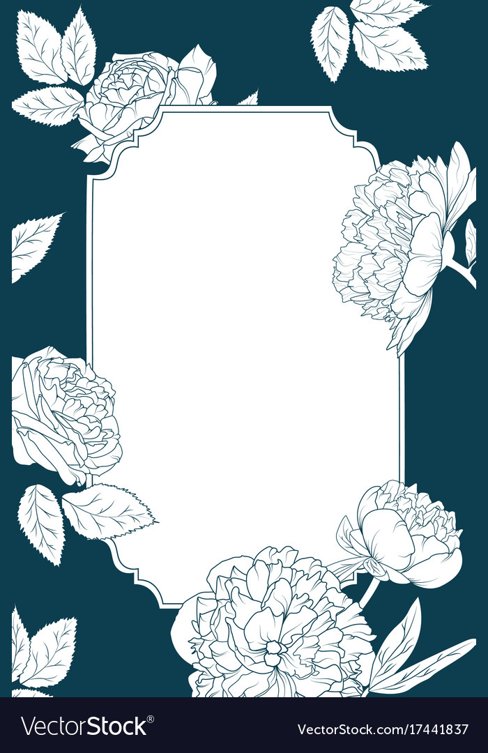 Rose Peony Flowers Invitation Card Template Border