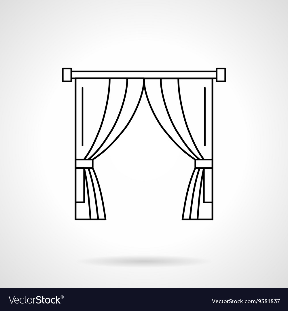 Theater curtain flat line icon