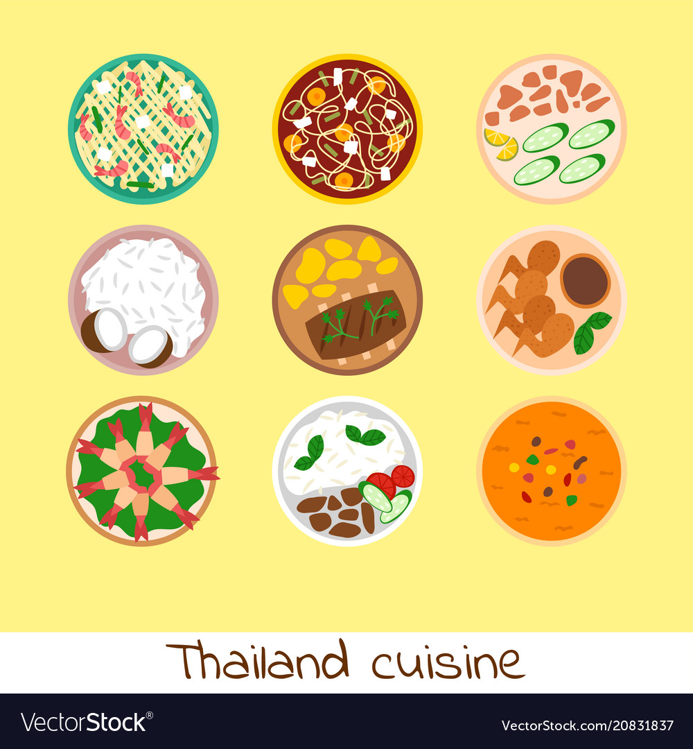 Traditional thai food asian plate cuisine thailand