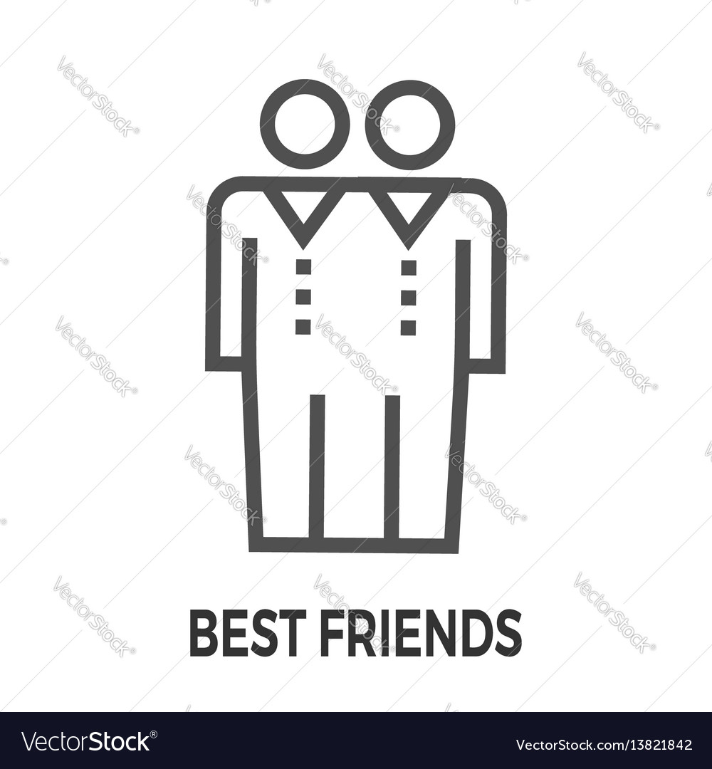 Best friends line icon