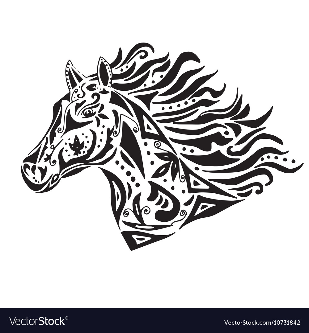 Black horse coloring or tattoo in circus style