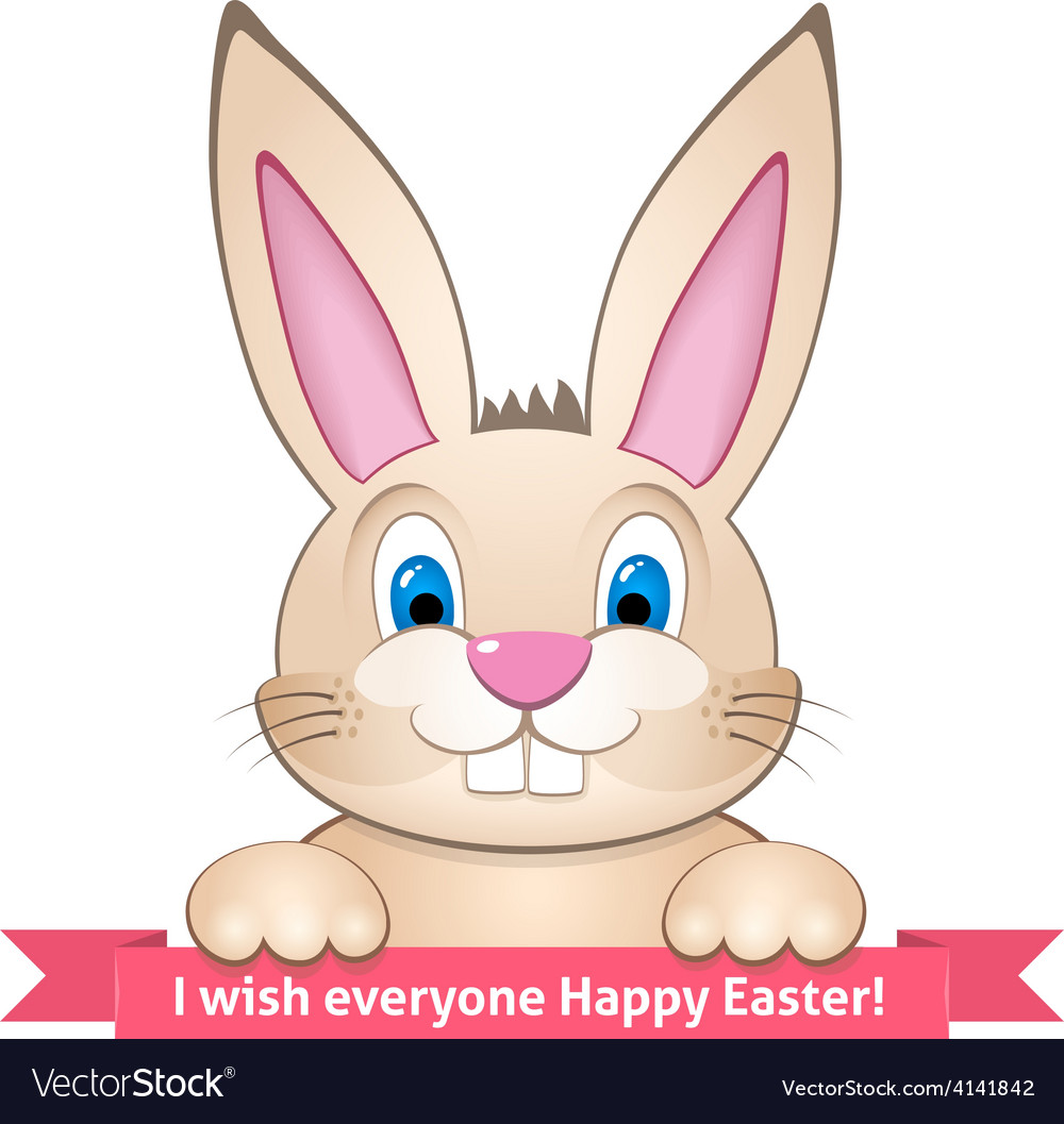 Bunny wishes Happy Easter vector image