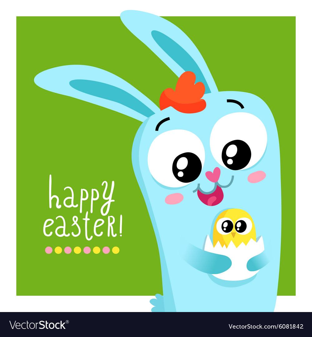 Easter greeting card template with bunny holding