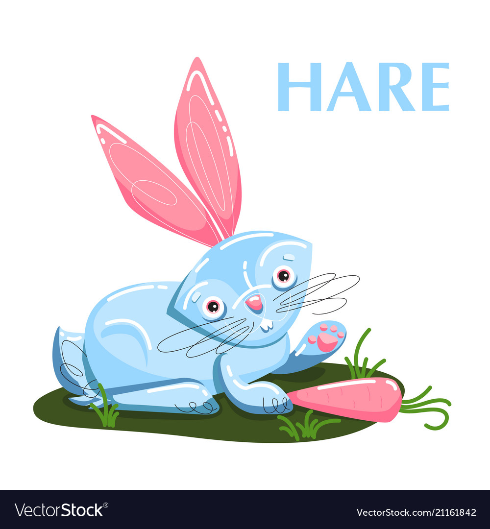 Educational flashcard hare eating the carrot