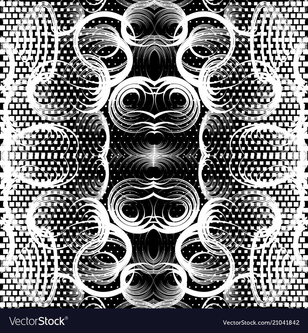 Geometric black and white beautiful seamless vector image