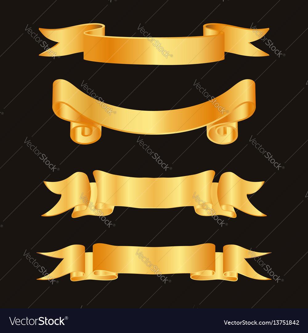 Golden ribbon decoration elements ribbons
