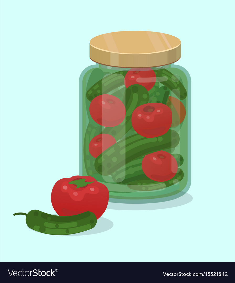 Jar with pickled cucumbers and tomatoes flat