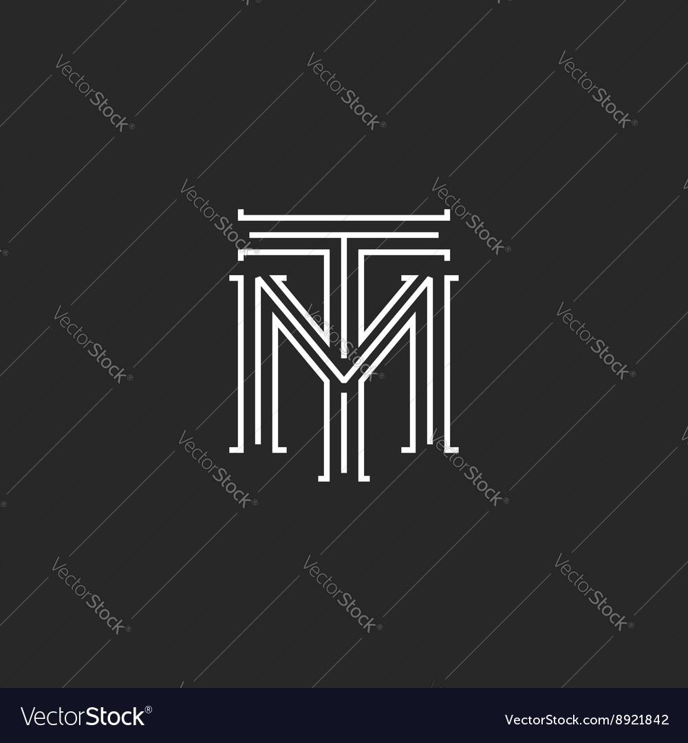 Monogram hipster initials TM logo letters vector image