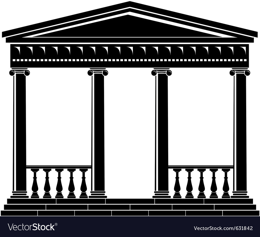 Portico of ancient temple with balustrade