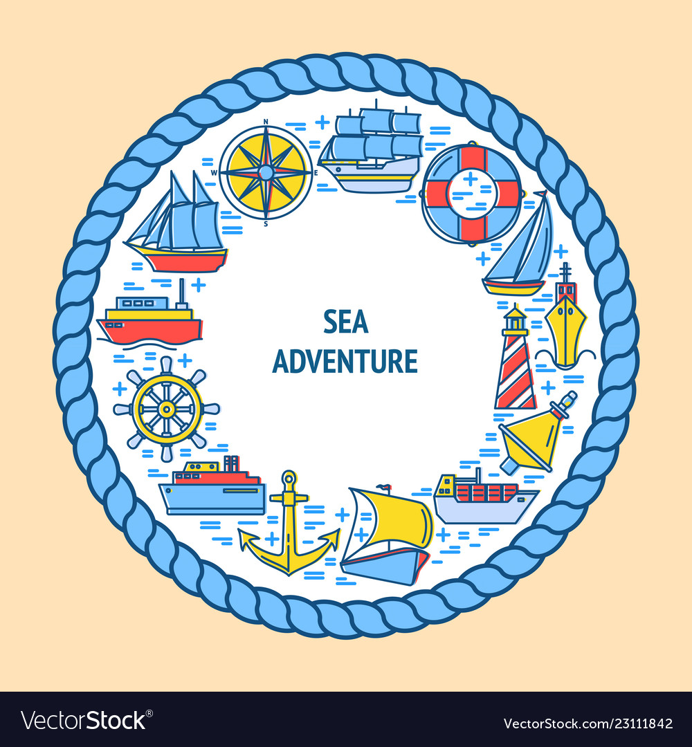 Sea adventure round concept with ship icons in