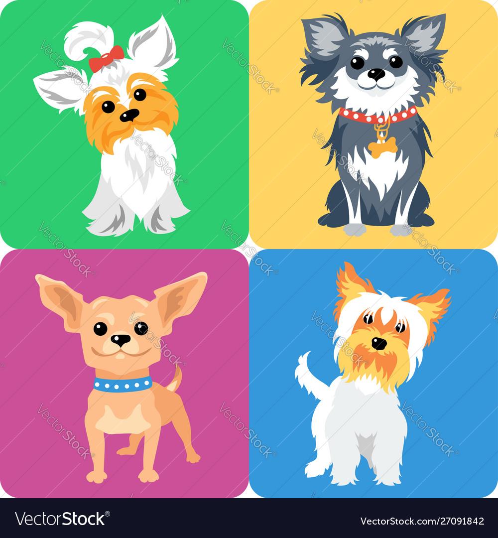 Set dog icon flat design