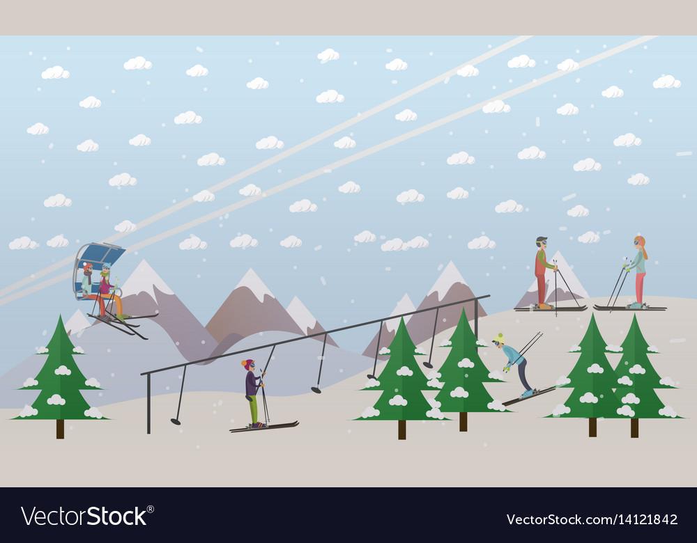 Ski lifts service in flat