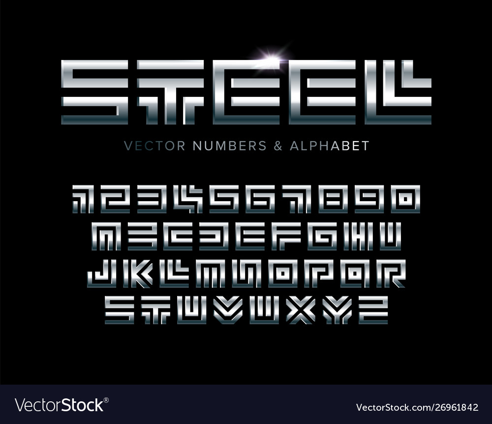 Steel letters and numbers set polished metal