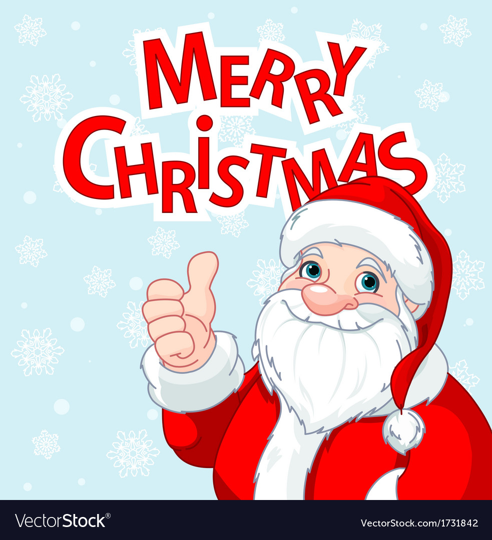 Thumbs Up Santa Claus Greeting Card Royalty Free Vector