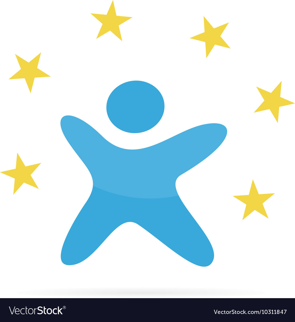 Abstract man logo with a star on a circle