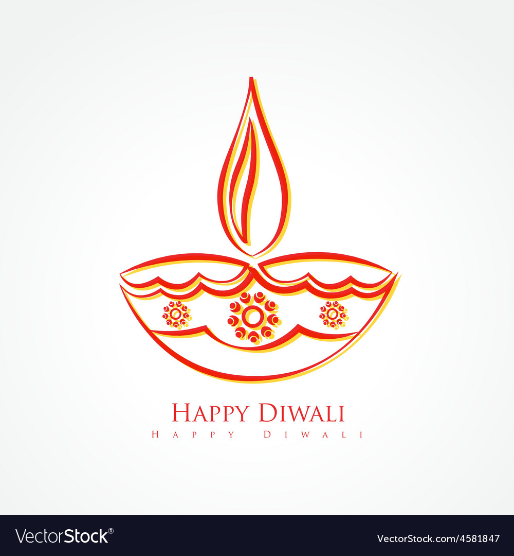 Artistic diwali diya isolated on white background Vector Image