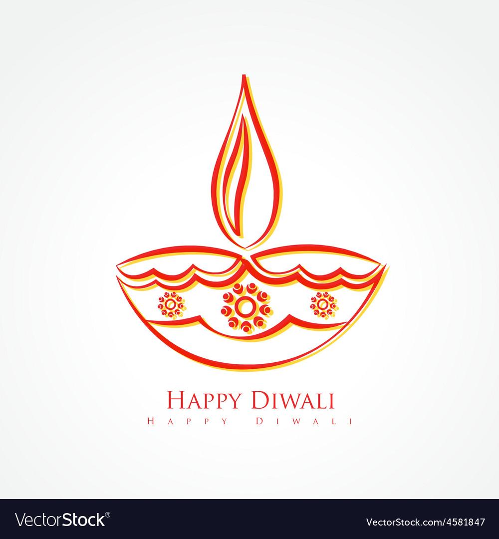 Artistic diwali diya isolated on white background Vector Image  Artistic diwali...