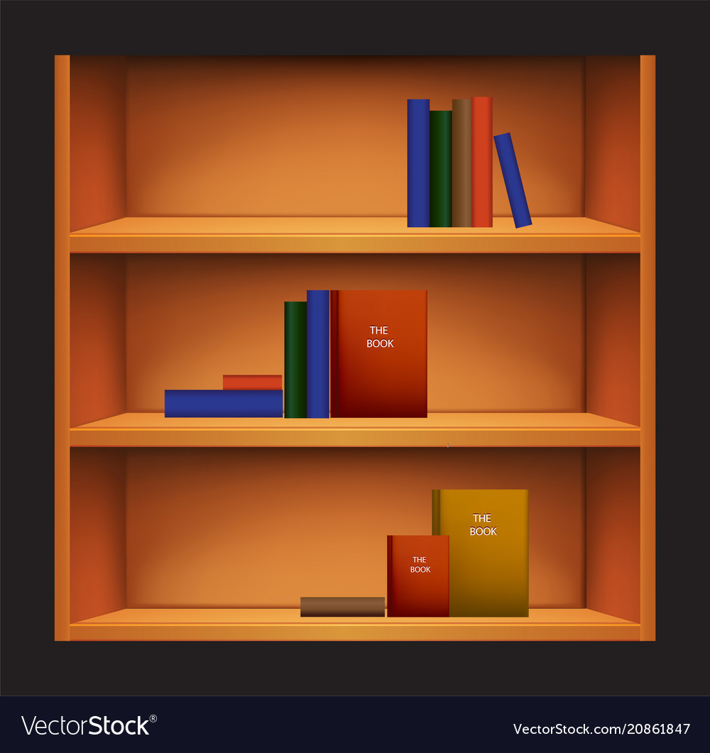 Bookshelf and books with different covers