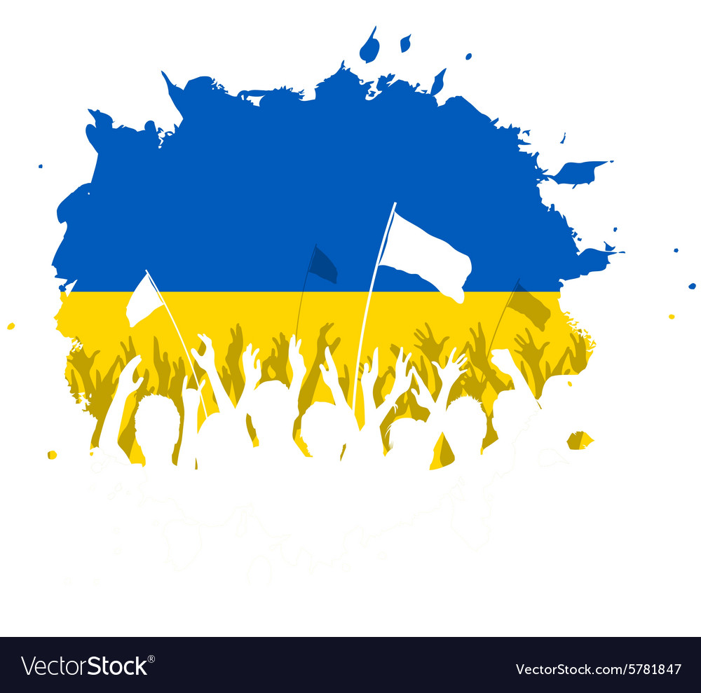 Celebrating Crowd with Ukrainian flag