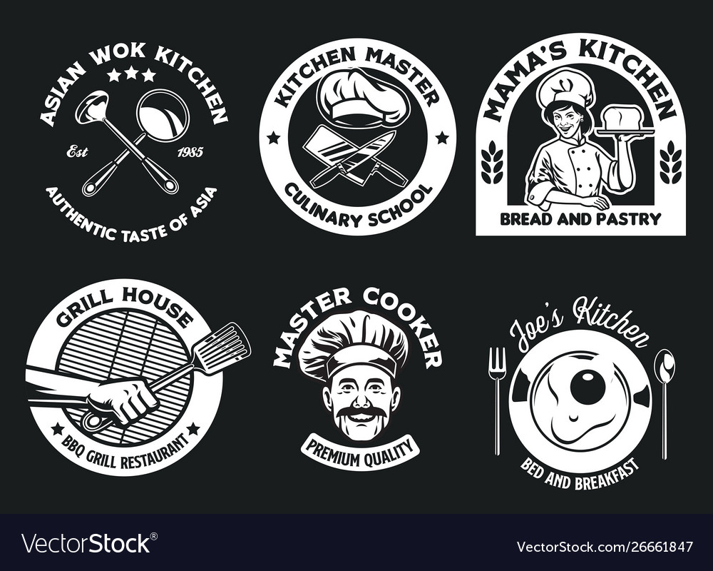 Culinary badge design collection
