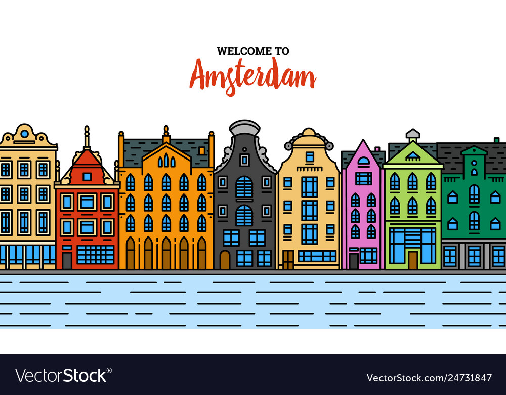 Europe house or apartments set cute vector