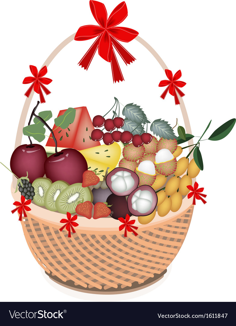Health and nutrition fruit in gift basket vector