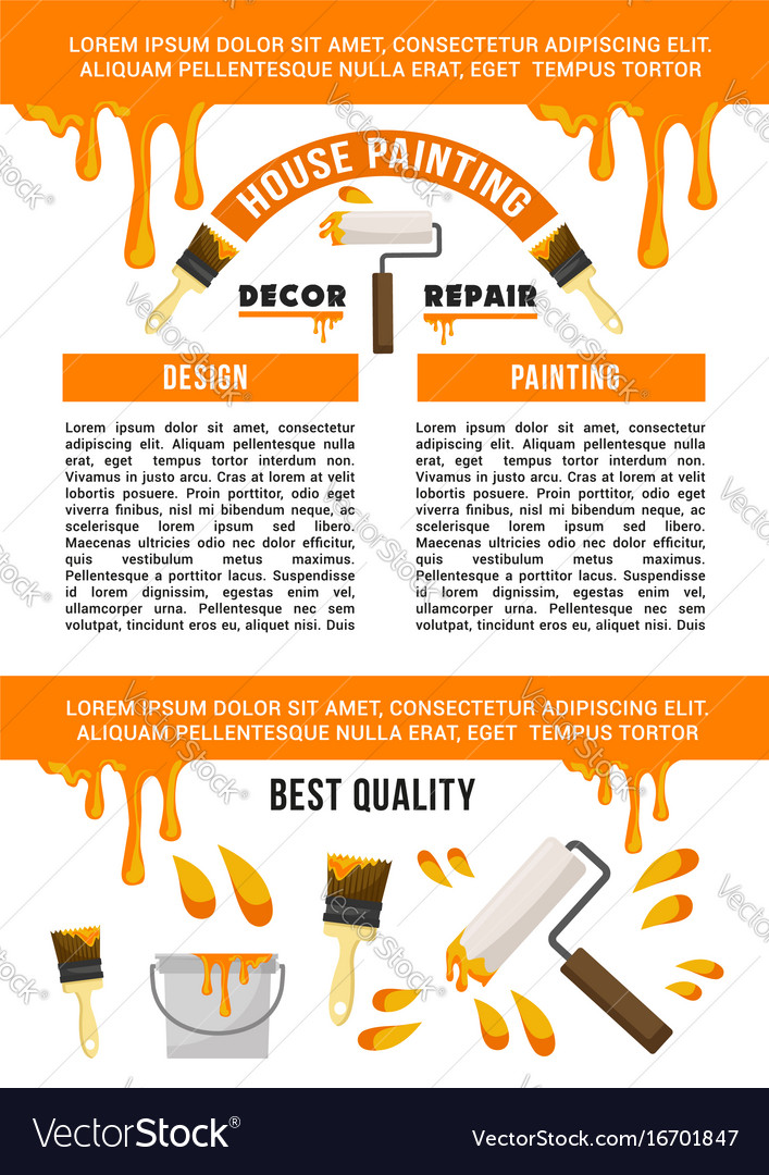 Home repair and painting service banner template vector image