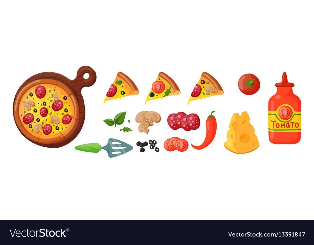Italian cook pizza icons