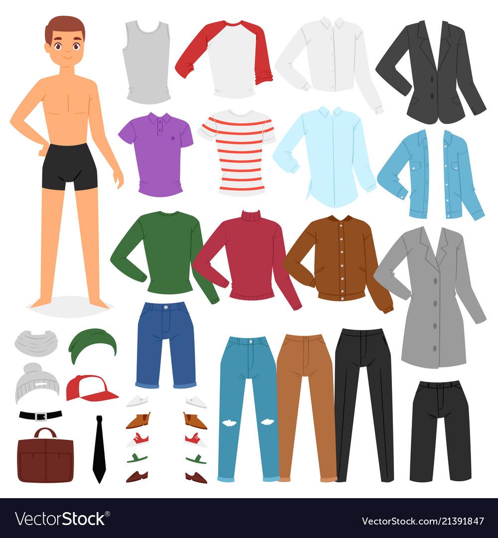 aa8619ca590 Man clothing boy character dress up clothes Vector Image
