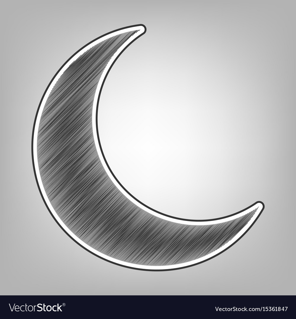 Moon sign pencil sketch vector image