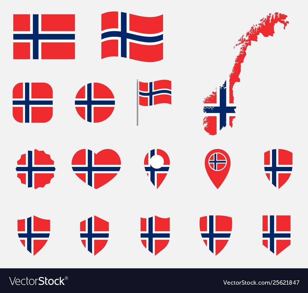 Norway flag icons set national flag kingdom of