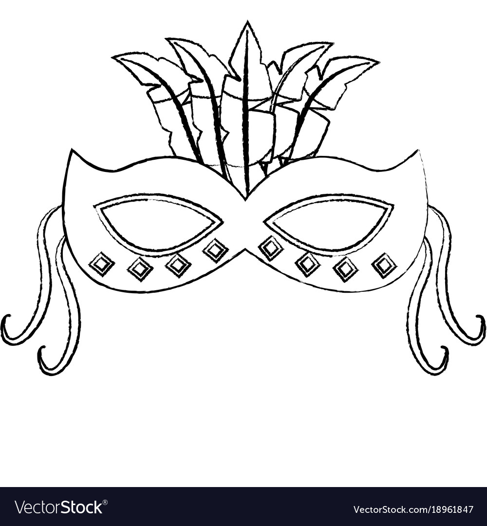 ornate mardi gras carnival mask with feathers vector image